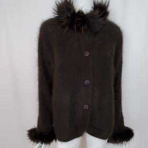 Vintage Connie A. Lee Angora Cardigan Fur Trim